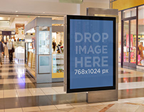 Product Mockup, Mall Poster near a Kiosk