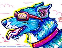 Blue Dog Marker Illustration