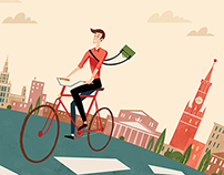 To work by bicycle