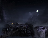 Dark Night Landscape Matte Art