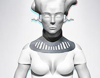 Sci-fi female character sculpture