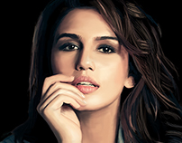 Digital Painting of Huma Qureshi by Mushir Arts