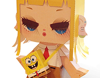 spongebob girl paper toy