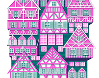 Germany, Netherlands and Norway houses prints