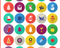 100 Free Merry Christmas & Happy New Year Icons 2014