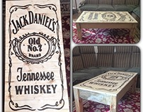 Jack Daniels table - Pyrography