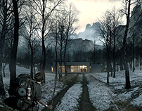 A house in the woods matte painting