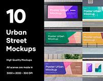 10 Urban Poster Street Mockups - PSD