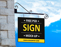 Free Hanging Wall Sign Mockup PSD