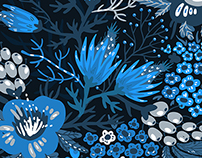 Blue mood-vector set of seamless floral patterns