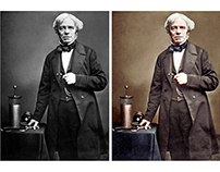 Colorisation of a photograph of Michael Faraday