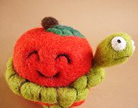 """Apple and Worm scarf"" Textile Art Toy"