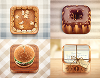 Icons for a cooking iPad apps.