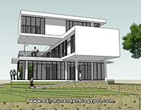 Arsitektur villa box moderen di Trawas Jawa timur