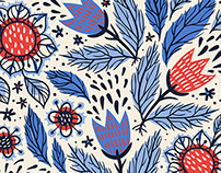 Abstract tulips and folk elements in vector patterns