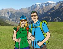 Hiking in Switzerland - Illustration
