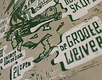 Linocut Gig poster DGW