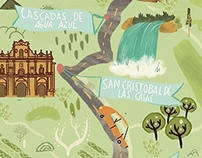 Chiapas map for Aeromexico Magazine