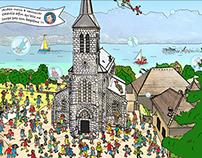 "Friend's kid Baptism invitation - ""Where's Wally"" style"