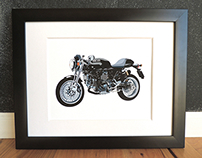 Ducati Sport 1000 Custom Motorcycle Art Print