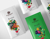 Authentic Kenya & Brazil coffee package design