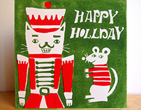 Happy holiday cat nutcracker lino cut Christmas card