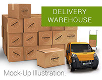 Delivery Warehouse Mock-Up Illustration