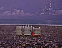 Lightning on the black sea.