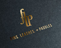"""Fins, Leashes, and Paddles"" Logos"