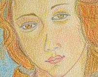 """Dibujo """"El nacimiento de Venus"""" de Sandro Botticelli"""