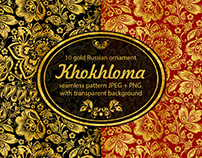Khokhloma. Russian ornament. Floral seamless pattern