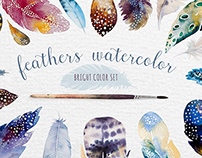 Bright watercolour feathers kit