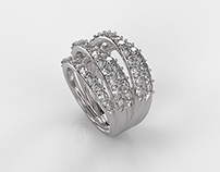 Five Lines Diamonds Ring