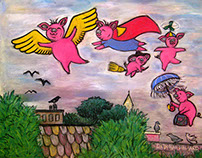 When Pigs Fly - pastel