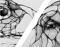 Buffle vs Iguane bic drawing