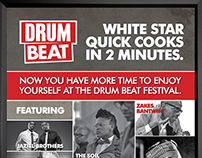White Star Drum Beat Music Poster