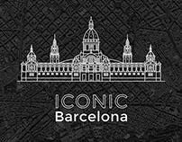 Line art iconic architecture of Barcelona