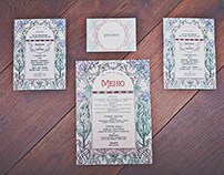 Art nouveau wedding invitation