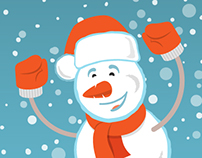 Happy Snowman with a Ribbon