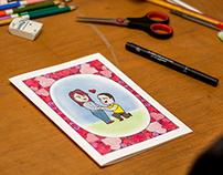 Cartão ilustrado para o Dia dos Namorados