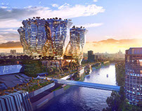 Moscow-city Futuristic complex visualization