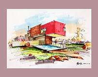 Mark pen & Watercolor