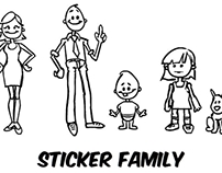 Character Design Sticker Family