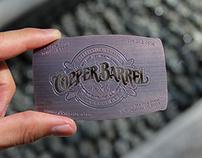 Copper Finished Card For Copper Barrel Distillery