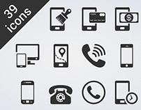 """39 glyph vector """"Phone"""" icon"""