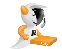 Roby, pizza dilivery / mascot & logo design
