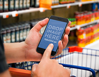 iPhone 6 Mockup Held while Grocery Shopping
