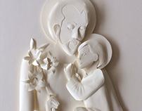 St Joseph and Jesus White Paper Sculpture