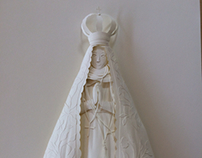 Our Lady of Aparecida White Paper Sculpture