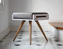 KENJI bench / Stool / Ottoman in White Lacquer & oak